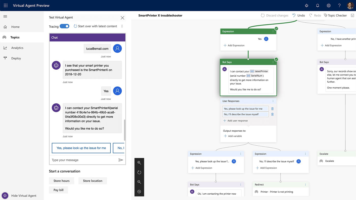 Power Virtual Agent drag and drop user interface tech news sri lanka
